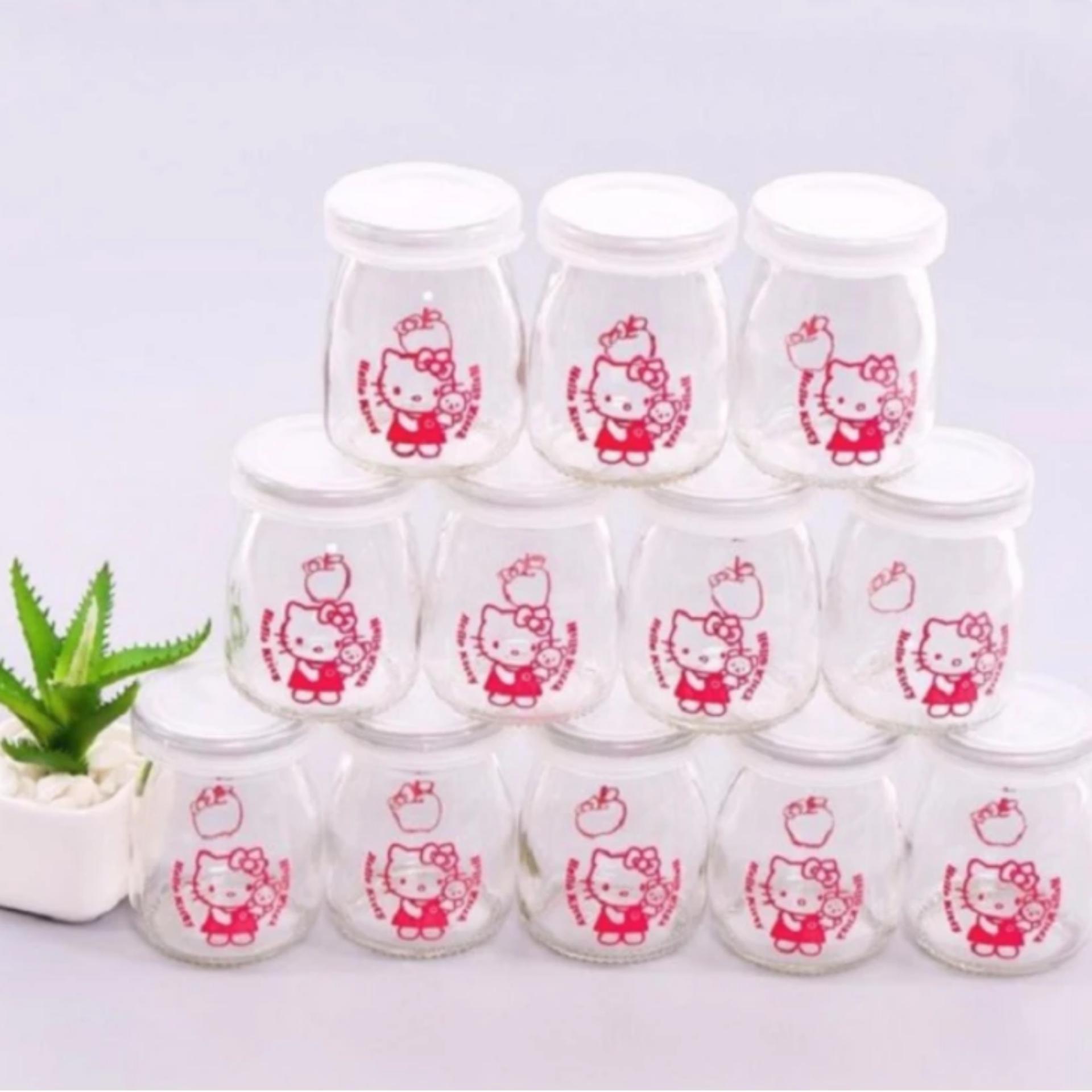Bộ 12 cốc làm sữa chua thủy tinh họa tiết IH88