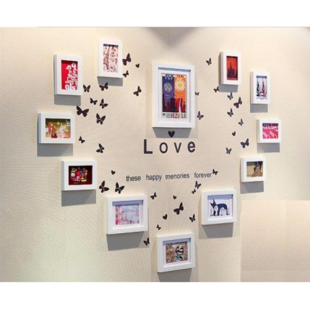 Cách mua Bộ 12 khung hình Diachire trang trí trái tim Ka024 + Tặng Decal LOVE (Trắng)