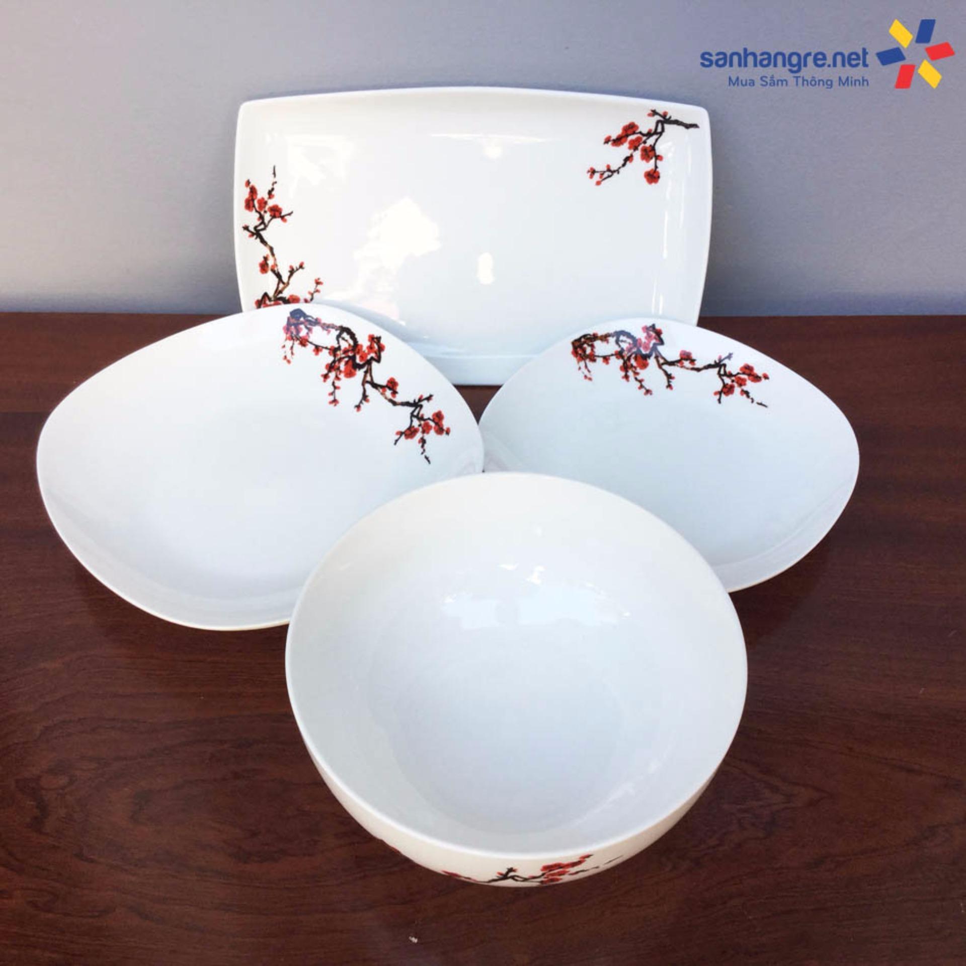 Bộ 12 món tô, bát, đĩa sứ Ceramic Hoa đào (Trắng)
