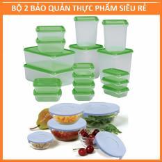 BỘ 2 SIÊU RẺ: Bộ 17 hộp bảo quản tủ lạnh + Bộ 5 bát thủy tinh lò vi sóng