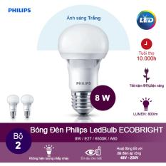 (Bộ 2) Bóng đèn Philips Ecobright LEDBulb 8W 6500K đuôi E27 A60 – Ánh sáng trắng