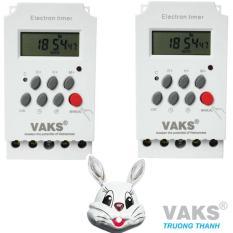 Bộ 2 cái Công tắc hẹn giờ 17 chương trình VAKS KG316T-II + tặng 01 đèn ngủ cảm ứng mặt thỏ
