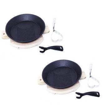 Bộ 2 chảo gang tròn chống dính ES0069 (Đen)