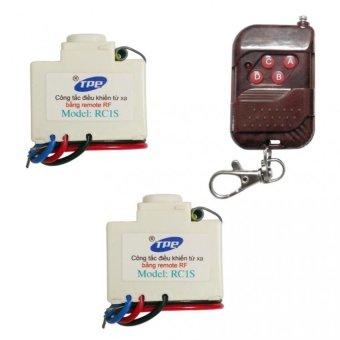 Bộ 2 công tắc điều khiển từ xa sóng RF TPE RC1S + Remote RF vỏ vân gỗ R1VG315