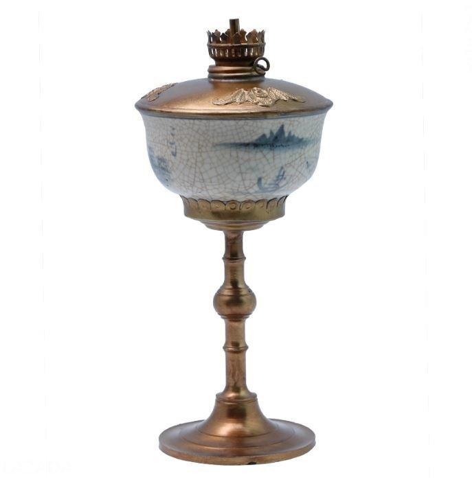 Bộ 2 đèn dầu thờ men lam cổ bọc đồng Bát Tràng-03