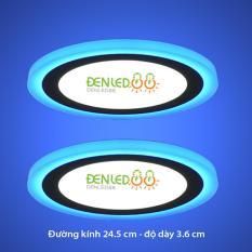 Bộ 2 đèn led nổi ốp trần 24w tròn 2 màu 3 chế độ