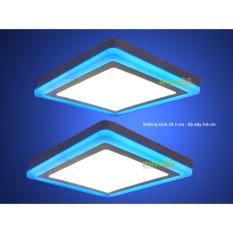 Bộ 2 đèn led nổi ốp trần 24w vuông 2 màu 3 chế độ ánh sáng trắng xanh dương