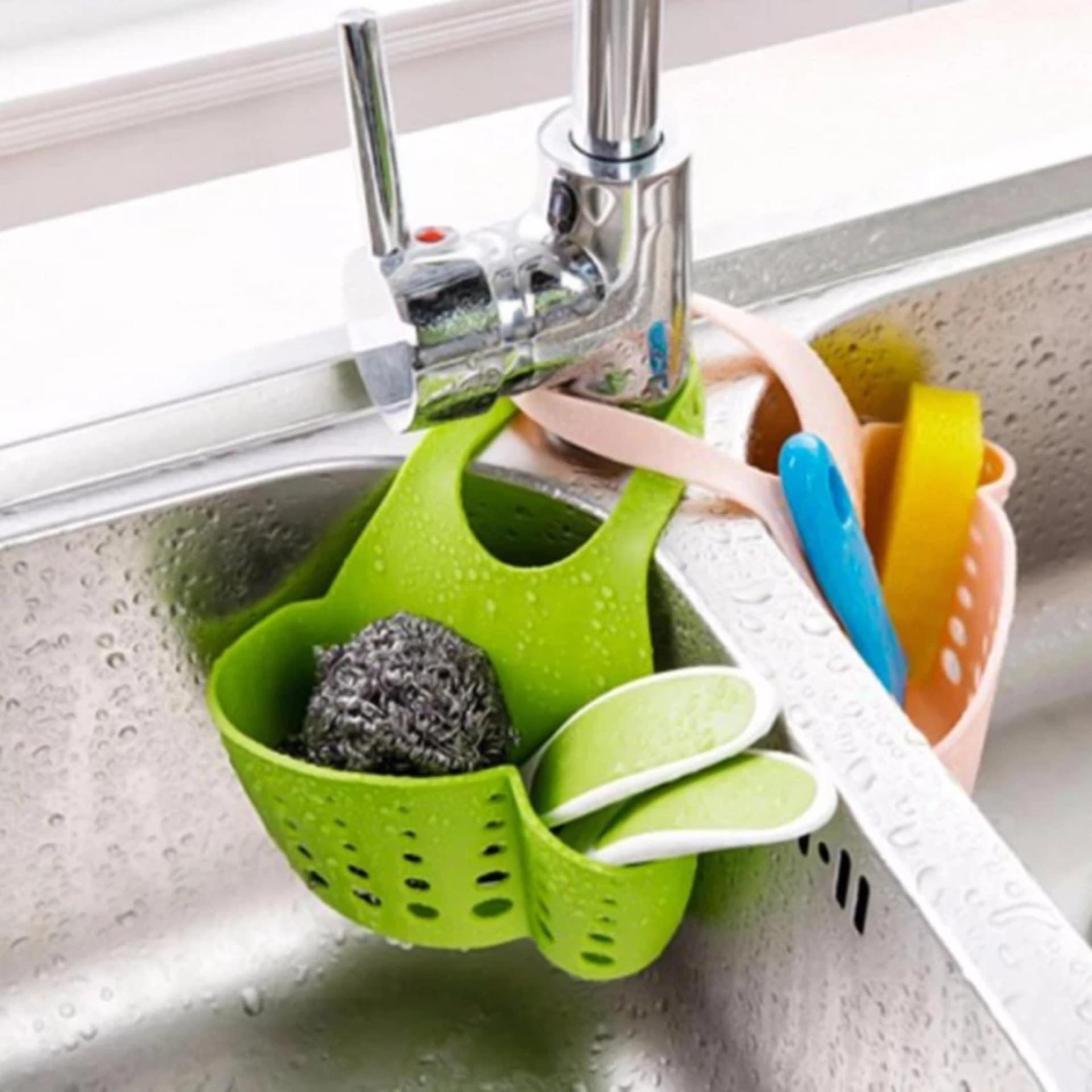 Bộ 2 giỏ treo lưới rửa bát và xà bông