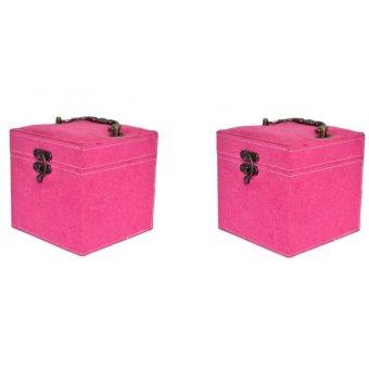 Bộ 2 hộ đựng đồ trang sức nhung nhỏ Handomart (Hồng)