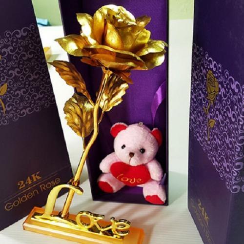 Giá Khuyến Mại Bộ 2 hoa Hồng 3D Mạ Vàng LOVE A183 (Vàng)