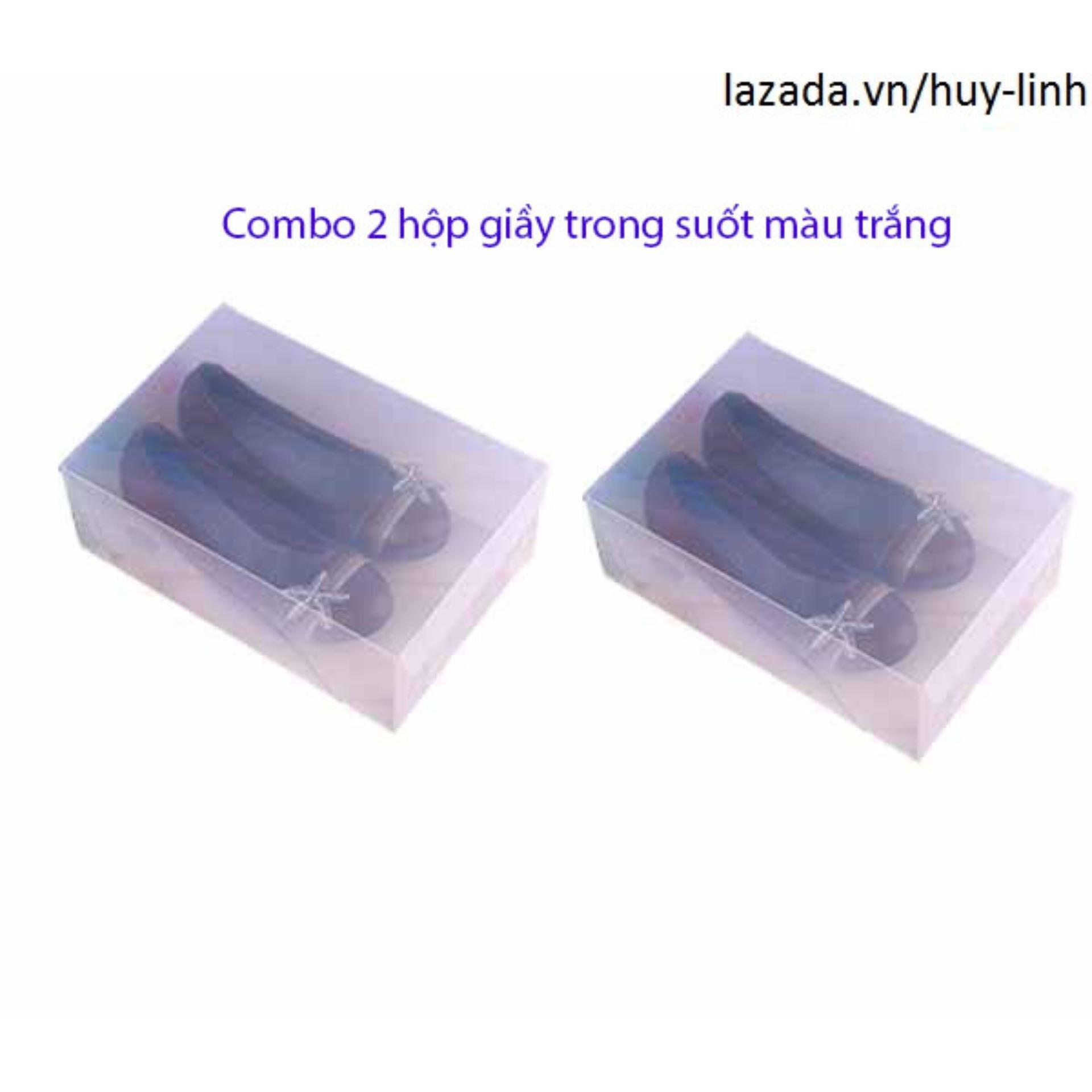 Giá Niêm Yết Bộ 2 hộp đựng giày dép trong suốt tiện dụng ( Trắng )