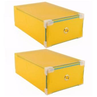 Bộ 2 hộp đựng giày trong suốt viền kim loại Hanghot365 (Xanh lánhạt)