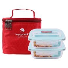 Bộ 2 Hộp Thủy Tinh Chữ Nhật Kèm Túi Giữ Nhiệt Happy Cook HCG-02R (370ml)
