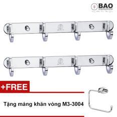 Bộ 2 móc treo quần áo inox 304 4 chấu gắn trên tường BAO-BN114 + Tặng 01 Máng khăn vòng M3-3004