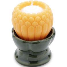 Bộ 2 nến hoa sen Nhật đế gốm Quang Minh Candle NQM3445 9 x 9 x 12 cm (Cam)