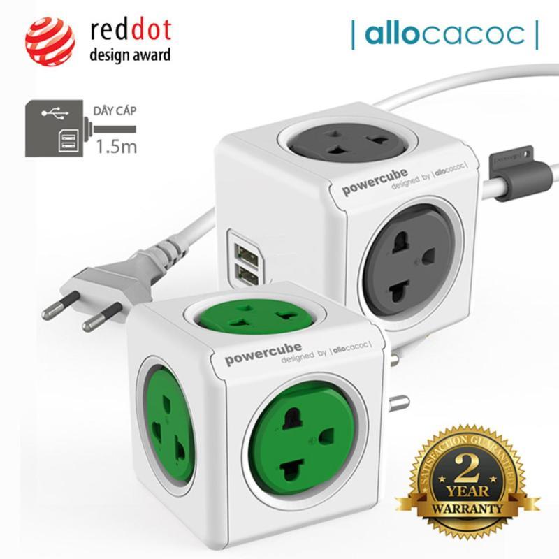 Bảng giá Bộ 2 Ổ Cắm Điện Allocacoc PowerCube Extended USB + Original 2 Sạc USB & 9 Ổ Cắm Dây Cáp 1.5m - Hàng Nhập Khẩu