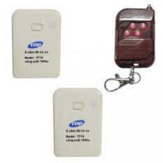 Bộ 2 ổ cắm điều khiển từ xa hồng ngoại RF TPE TF10 + Remote RF vỏ vân gỗ R1VG315