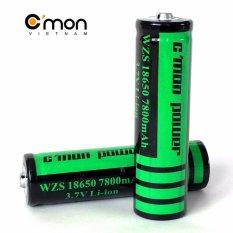 Bộ 2 pin sạc li-ion 18650 C'MON POWER 7800mAh 3.7V (Dùng cho đèn pin – xanh lá)