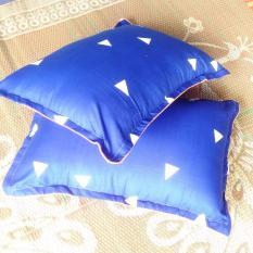 Bộ 2 Ruột Gối Kèm 2 Vỏ Gối (Ép Chân Không) Tam giác xanh 45cmx65cm