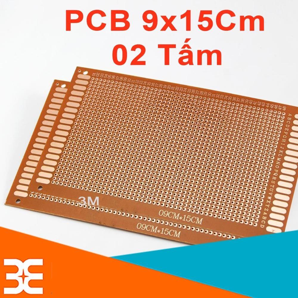 Bộ 2 Tấm PCB Phíp Đồng Đục Lỗ 9x15Cm ( nâu )