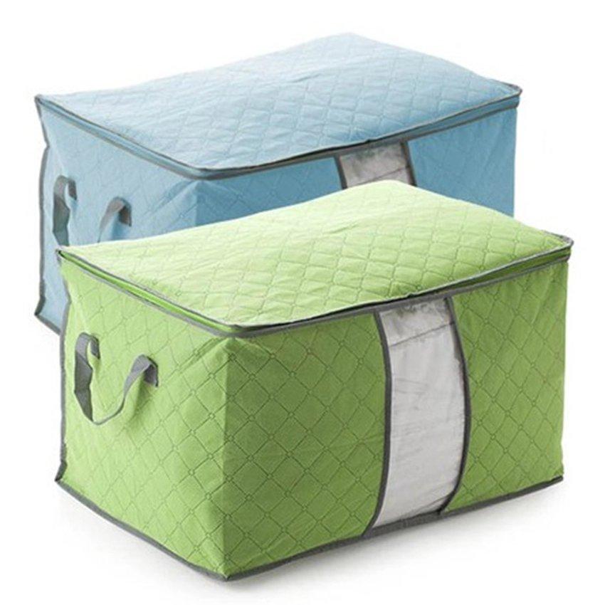 Bộ 2 túi đựng quần áo chăn màn cỡ lớn (Xanh lá và xanh dương)