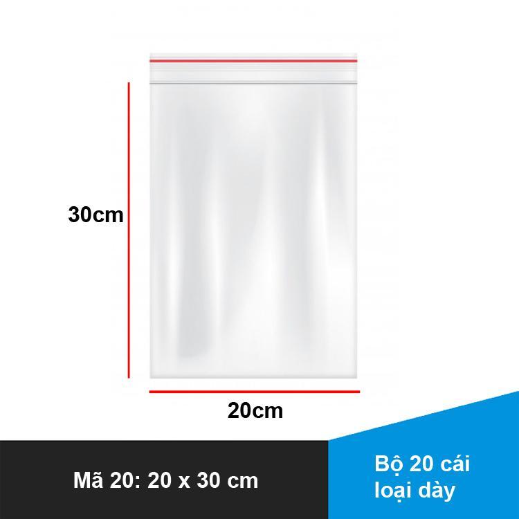 Bộ 20 cái Túi Zipper miết đầu KT 20cm x 30cm – S20