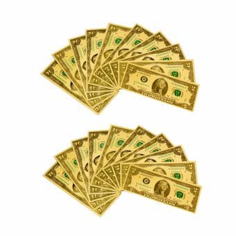 Bộ 20 tiền usd mạ vàng 2 đô la (Gold)