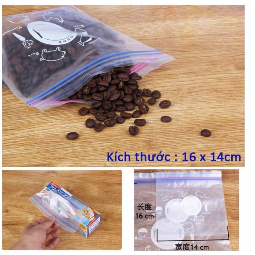Hình ảnh Bộ 20 túi Ziplock bảo quản thực phẩm 16x14cm hàng Nhật
