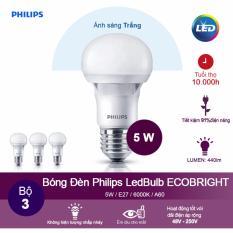 (Bộ 3) Bóng đèn Philips Ecobright LEDBulb 5W 6500K đuôi E27 A60 – Ánh sáng trắng