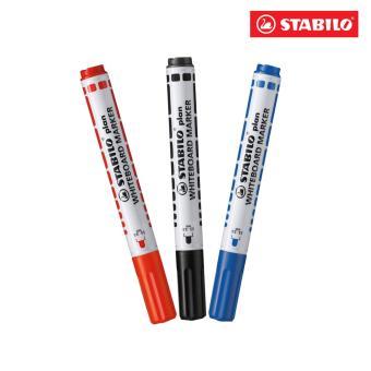 Bộ 3 Bút viết bảng đầu tròn STABILO plan (xanh + đen + đỏ)