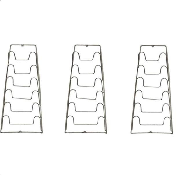 Bộ 3 giá treo vung nồi inox 6 tầng CT301 (Bạc)