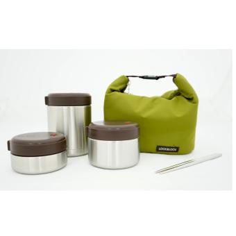 Bộ 3 hộp cơm giữ nhiệt thép không gỉ Lock&Lock (1 hộp 460ml, 1 hộp 420ml, 1 hộp 280ml) + túi giữ nhiệt  miễn phí