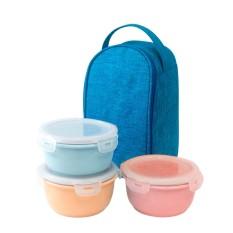 Bộ 3 hộp cơm sứ màu pastel Dong Hwa B1505-01S3 (Blue)
