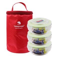 Bộ 3 Hộp Thủy Tinh Tròn Kèm Túi Giữ Nhiệt Happy Cook HCG-03C (400ml)