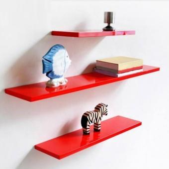 Bộ 3 kệ gỗ thanh ngang bán chạy nhất Diachire (Đỏ) - 2
