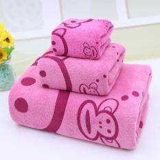 Giá bán Bộ 3 khăn tắm – khăn mặt – khăn lau (Hồng)