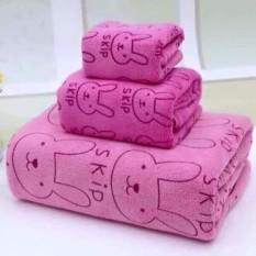 Bộ 3 khăn tắm, khăn mặt, khăn lau tóc cao cấp (hồng thỏ) - (BQ246-HONGTHO)