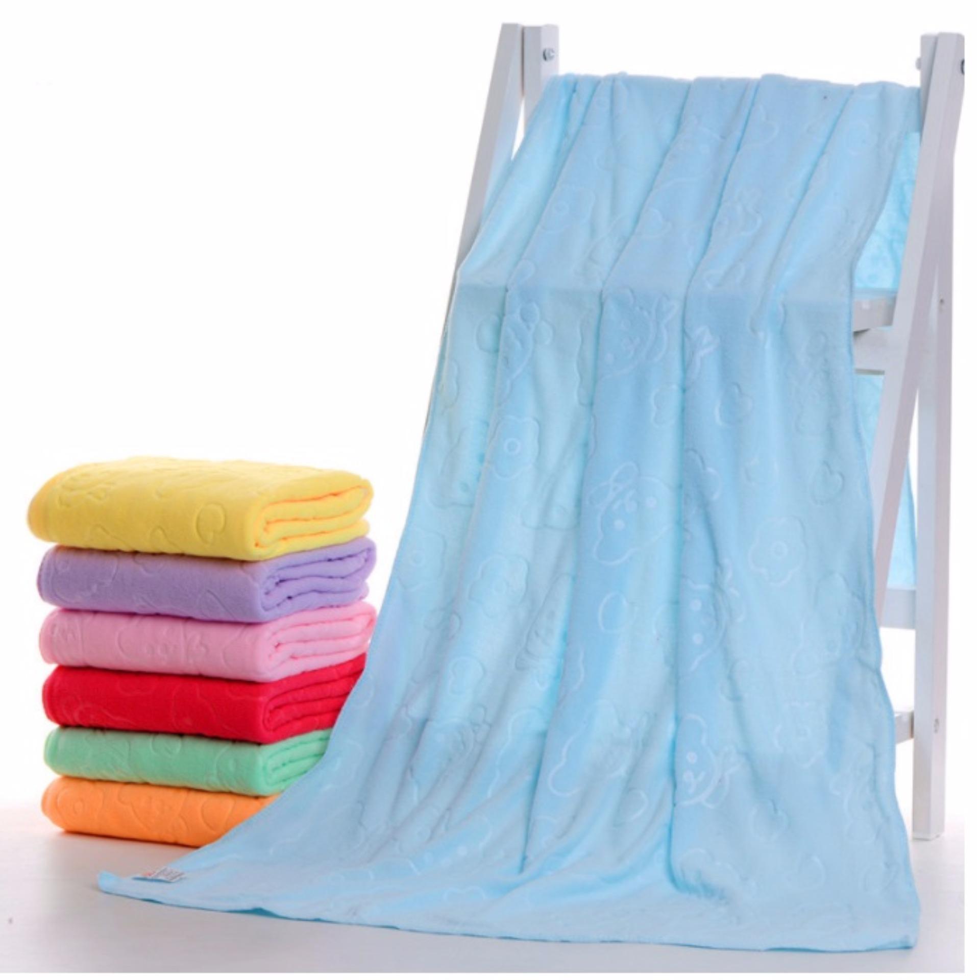 Bộ 3 khăn tắm, khăn mặt, khăn lau tóc cao cấp loại in chìm (xanh dương nhạt) – (BQ271-XANHDUONGNHAT)