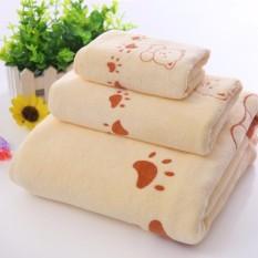 Bộ 3 khăn tắm, khăn mặt, khăn lau tóc cao cấp (vàng gấu) - (BQ246-VANGGAU)