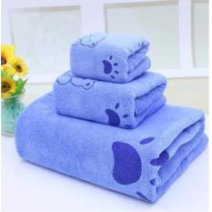 Bộ 3 khăn tắm, khăn mặt, khăn lau tóc cao cấp (xanh gấu) – (BQ246-XANHGAU)