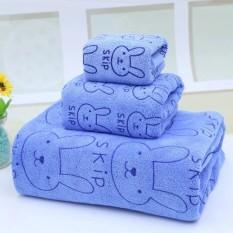 Bộ 3 khăn tắm, khăn mặt, khăn lau tóc cao cấp (xanh thỏ) – (BQ246-XANHTHO)