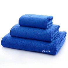 Bộ 3 khăn tắm,gội,rửa mặt Thái(xanh trơn)-to 70×140