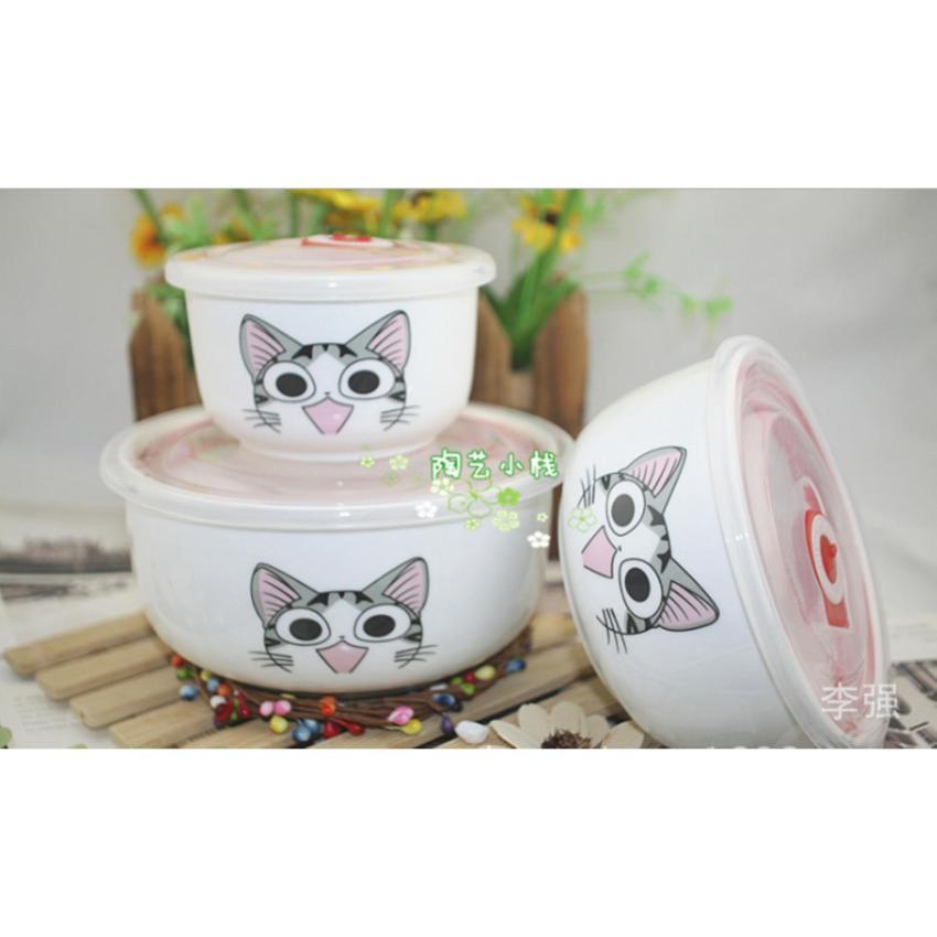 Bộ 3 tô sứ cheese mèo có nắp giữ nhiệt dùng bảo quản thực phẩm