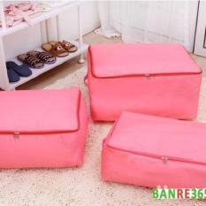Bộ 3 túi đựng quần áo chăn màn chống thấm cỡ lớn (hồng)