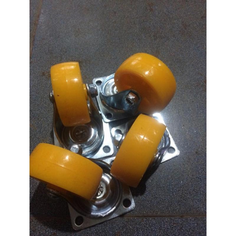 Bộ 4 Bánh xe đẩy nhựa Siêu Thanh 80mm 2 Vòng Bi- Không Khóa Phanh