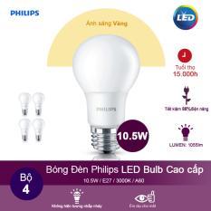 (Bộ 4) Bóng đèn Philips LEDBulb 10.5W 3000K đuôi E27 230V A60 – Ánh sáng vàng