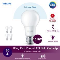 (Bộ 4) Bóng đèn Philips LEDBulb 10.5W 6500K đuôi E27 230V A60 – Ánh sáng trắng
