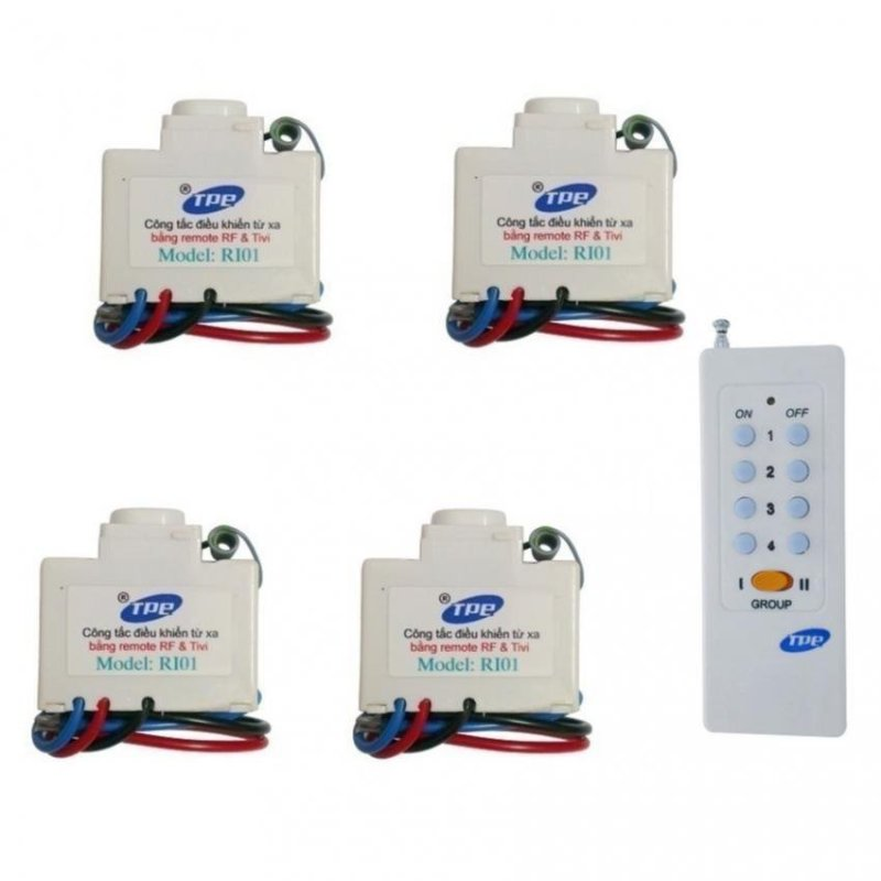 Bộ 4 công tắc điều khiển từ xa IR + RF TPE RI01 + Remote 16 nút RM01