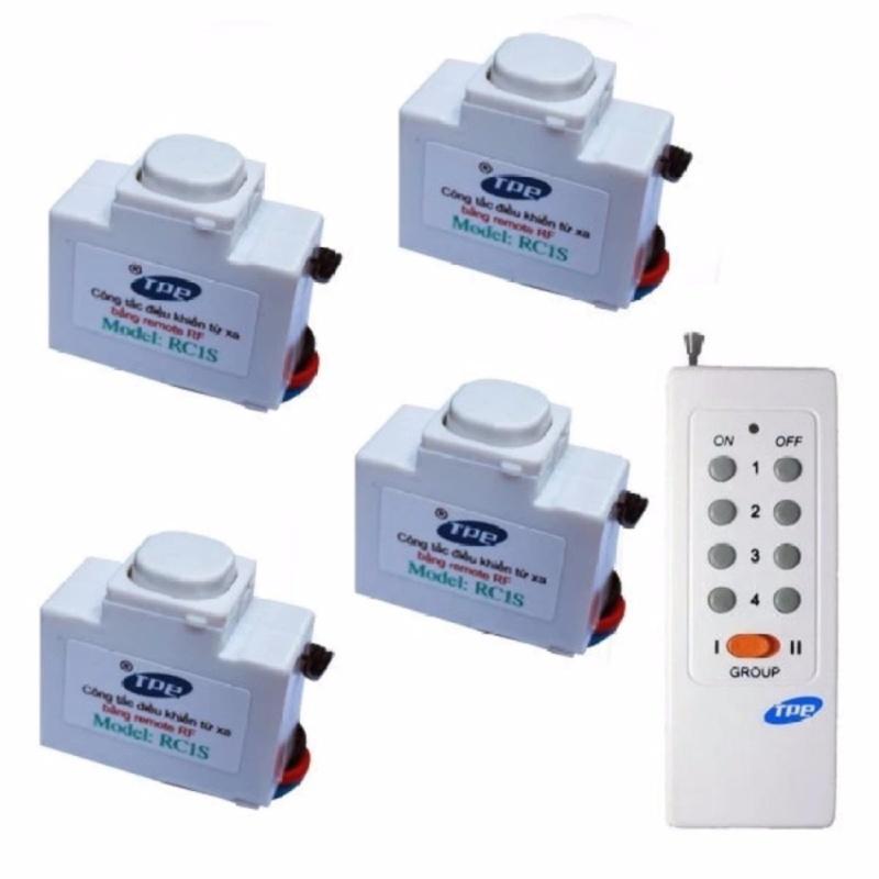 Bộ 4 công tắc điều khiển từ xa sóng RF TPE RC1S + Remote RM01