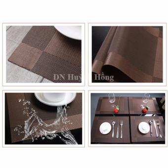 Bộ 4 khăn lót chén dĩa caro vuông (Nâu đậm)